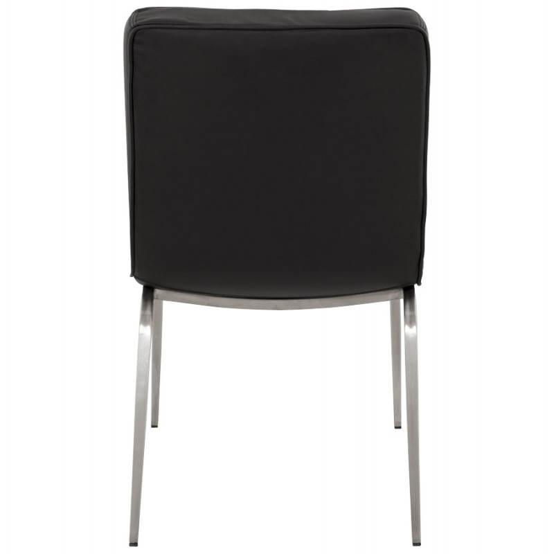 Chaise vintage capitonnée LINGO en polyuréthane et acier brossé (noir) - image 21985