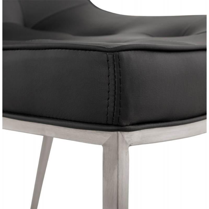 Chaise vintage capitonnée LINGO en polyuréthane et acier brossé (noir) - image 21987