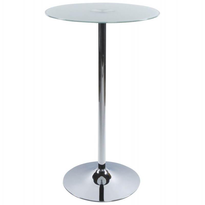 Table haute d'appoint BARY en verre et métal chromé (Ø 65 cm) (blanc)