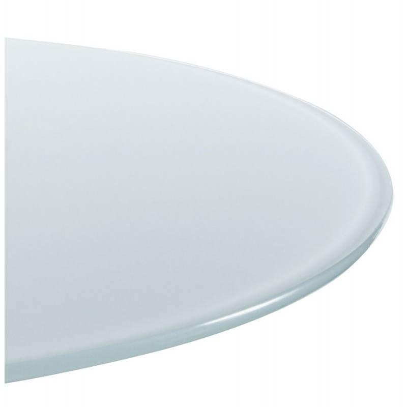 Table haute d'appoint BARY en verre et métal chromé (Ø 65 cm) (blanc) - image 22071
