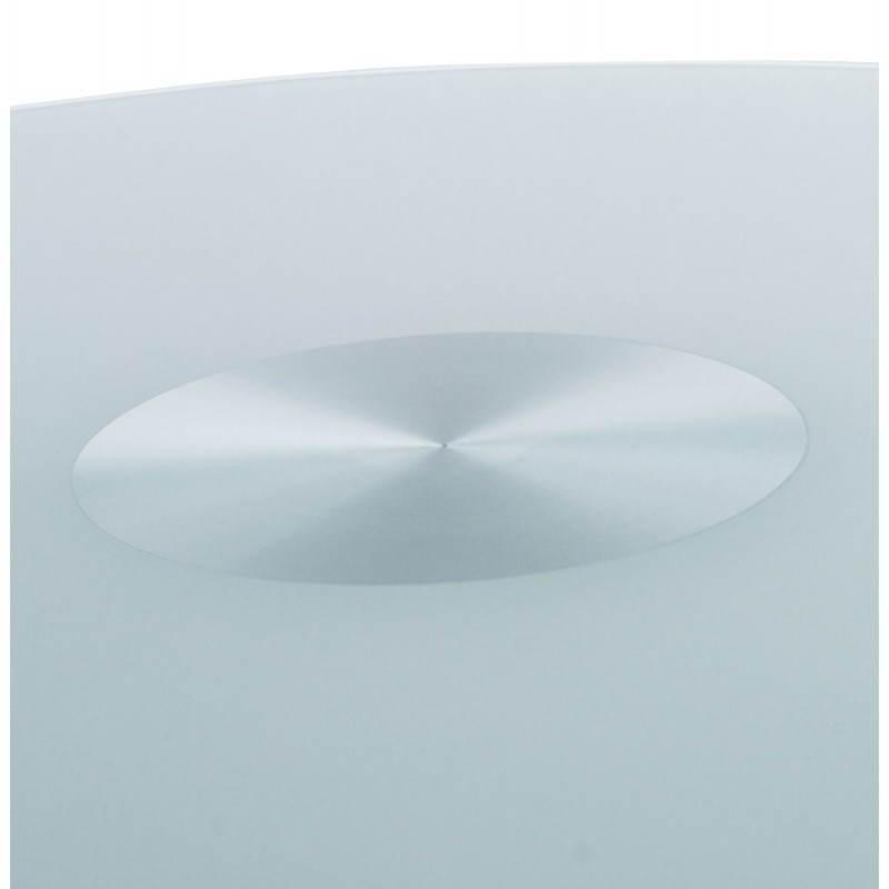 Table haute d'appoint BARY en verre et métal chromé (Ø 65 cm) (blanc) - image 22072
