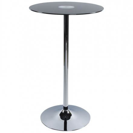 Side table high BARY glass and chromed metal (Ø 65 cm) (black)