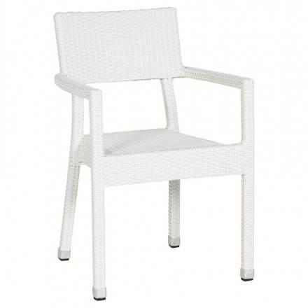 Chaise design tressée BOLIVIE en polymère (blanc)