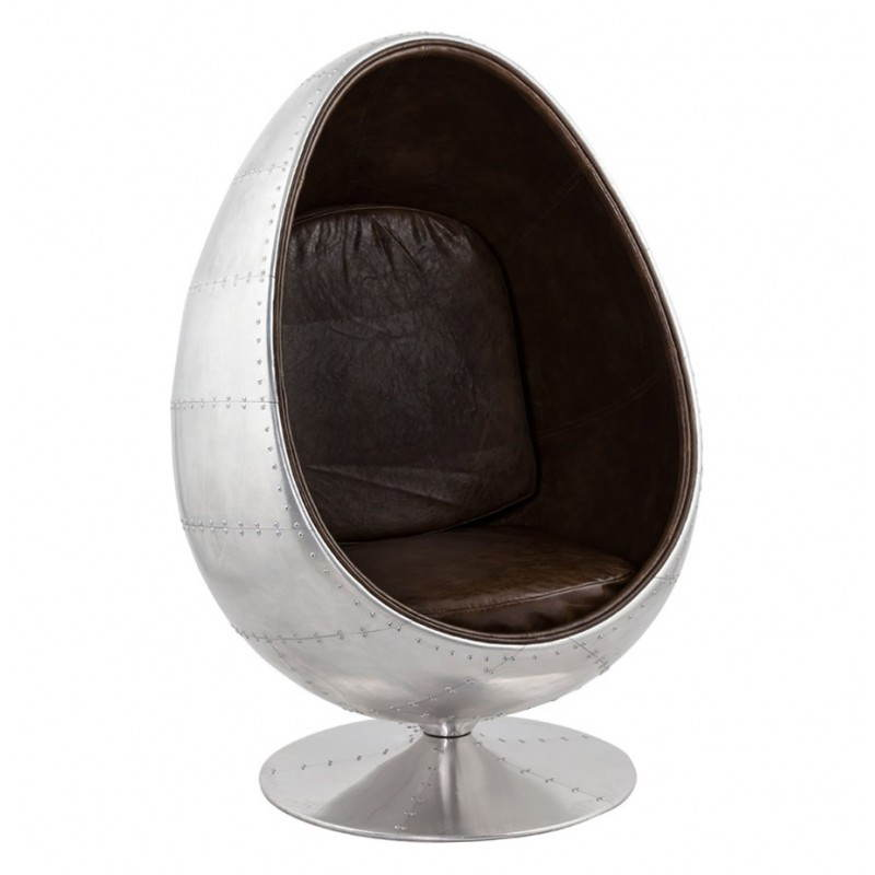 Design swivel armchair OVALO (aluminum and brown)
