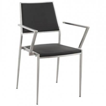 Chaise design et moderne MAINY en simili cuir et métal (noir)