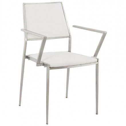 Chaise design et moderne MAINY en simili cuir et métal (blanc)