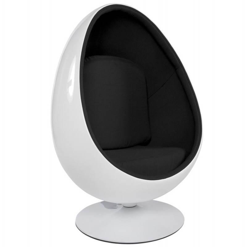 Fauteuil design OVALO en polymère et tissu (blanc et noir)