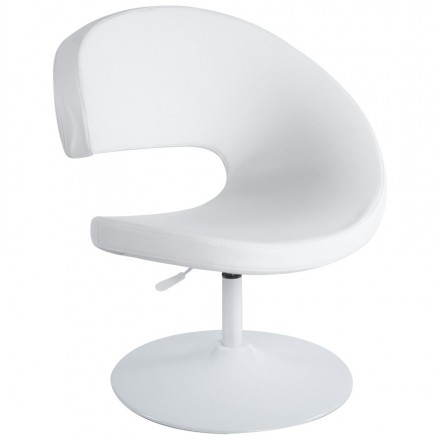 Design armchair contemporary ROMANE in polyurethane and painted steel (white)