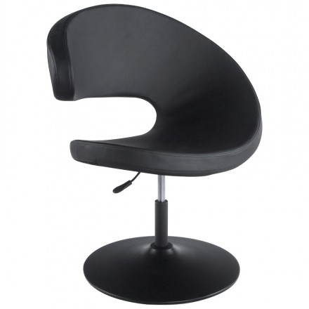 Design armchair contemporary ROMANE in polyurethane and painted steel (black)