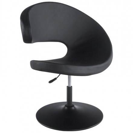 Fauteuil design et contemporain ROMANE en polyuréthane et acier peint (noir)