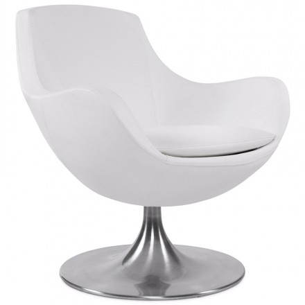 Design armchair contemporary love in synthetic and brushed aluminum (white)
