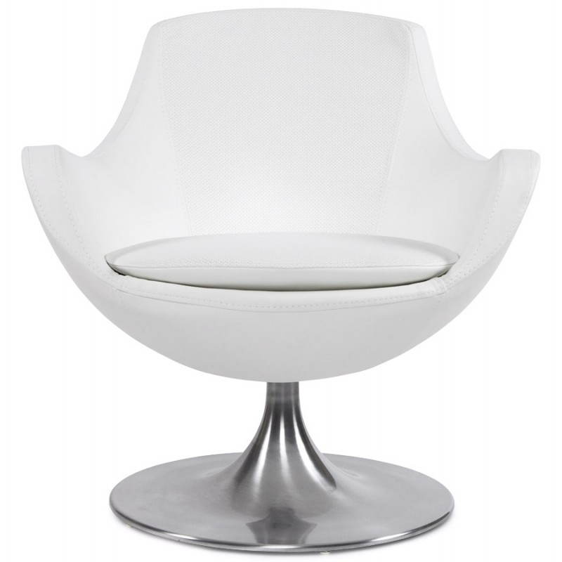 Design armchair contemporary love in synthetic and brushed aluminum (white) - image 22182