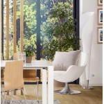 Diseño de sillón amor contemporáneo en sintético y aluminio cepillado (blanco)