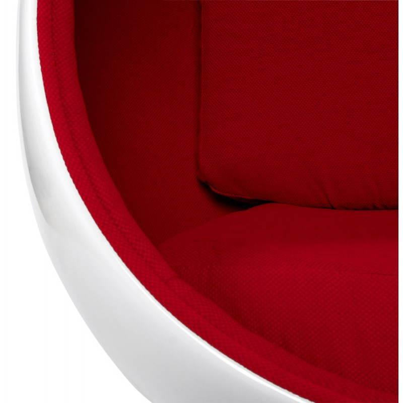 Sedia design OVALO in polimero e tessuto (bianco e rosso) - image 22216