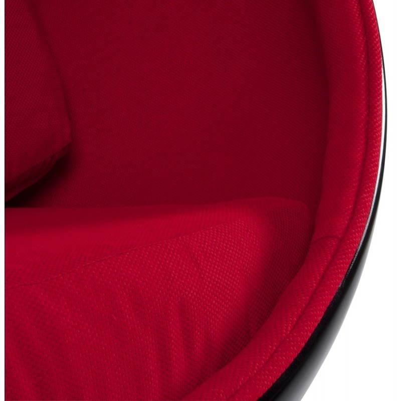 Fauteuil design OVALO en polymère et tissu (noir et rouge) - image 22225