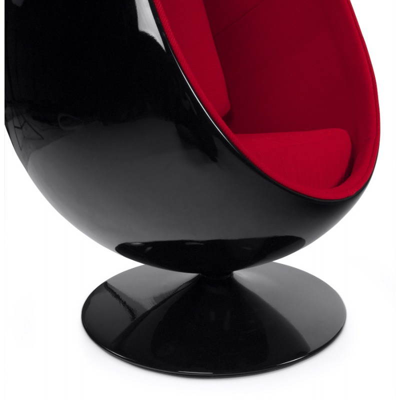 OVALO design chair in polymer and fabric (black and red) - image 22226