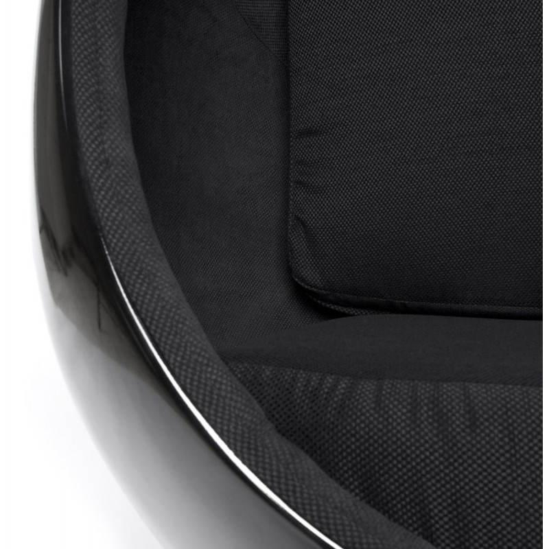 Fauteuil design OVALO en polymère et tissu (noir) - image 22231