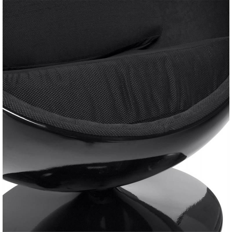 Fauteuil design OVALO en polymère et tissu (noir) - image 22234