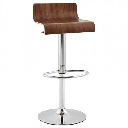 Design bar ROME (walnut) wooden stool