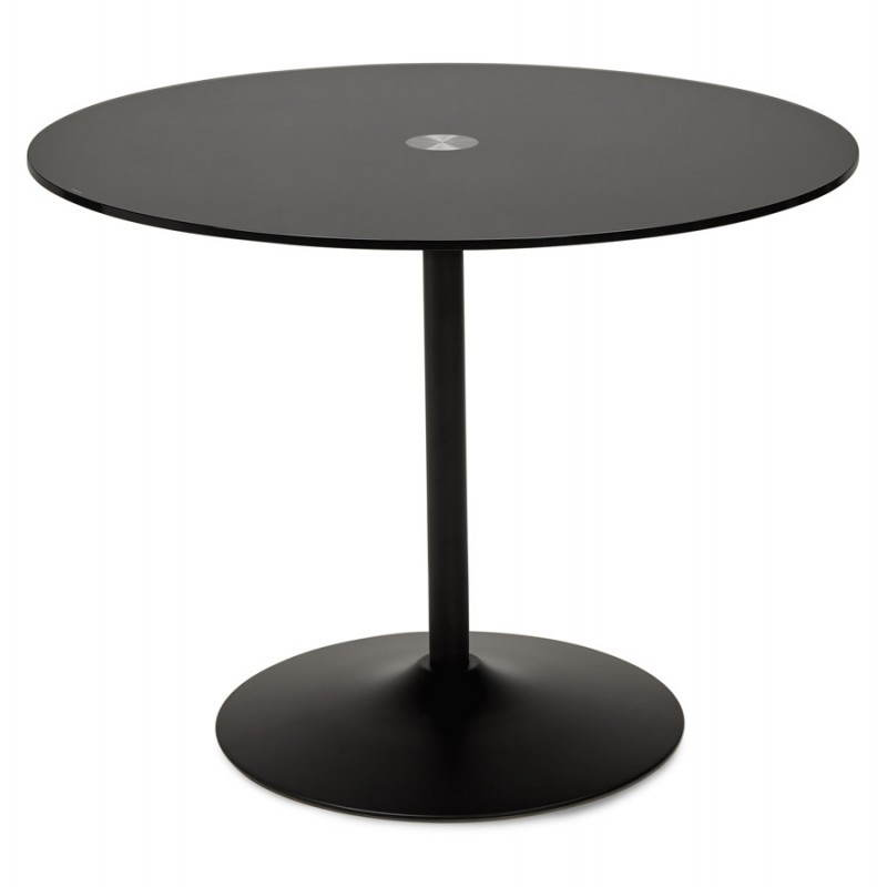 Table design ronde milan en verre et m tal 100 cm noir for Table design ronde