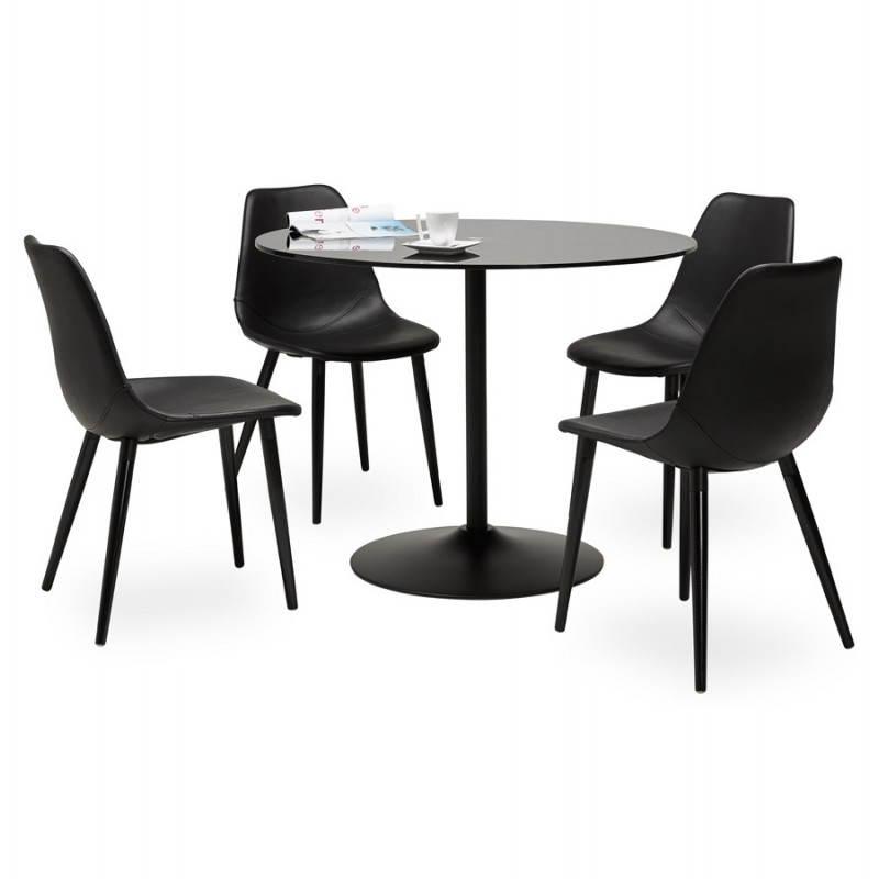 Table design ronde MILAN en verre et métal (Ø 100 cm) (noir) - image 22896