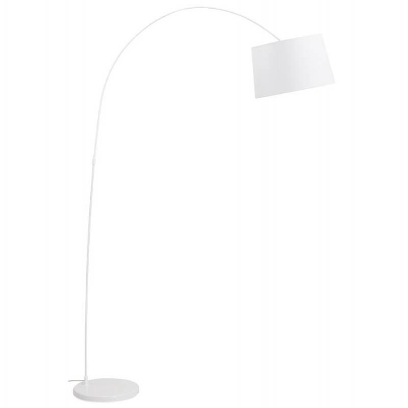 Lampe sur pied design AVERSA tissu (blanc)