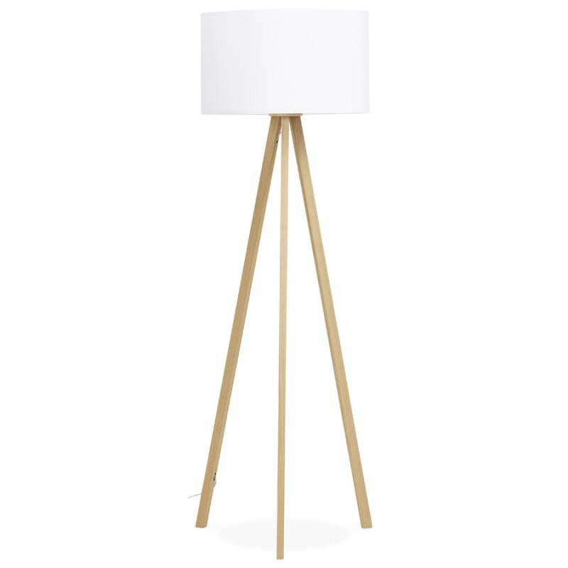 Scandinavian style TRANI (white, natural) fabric floor lamp - image 23169