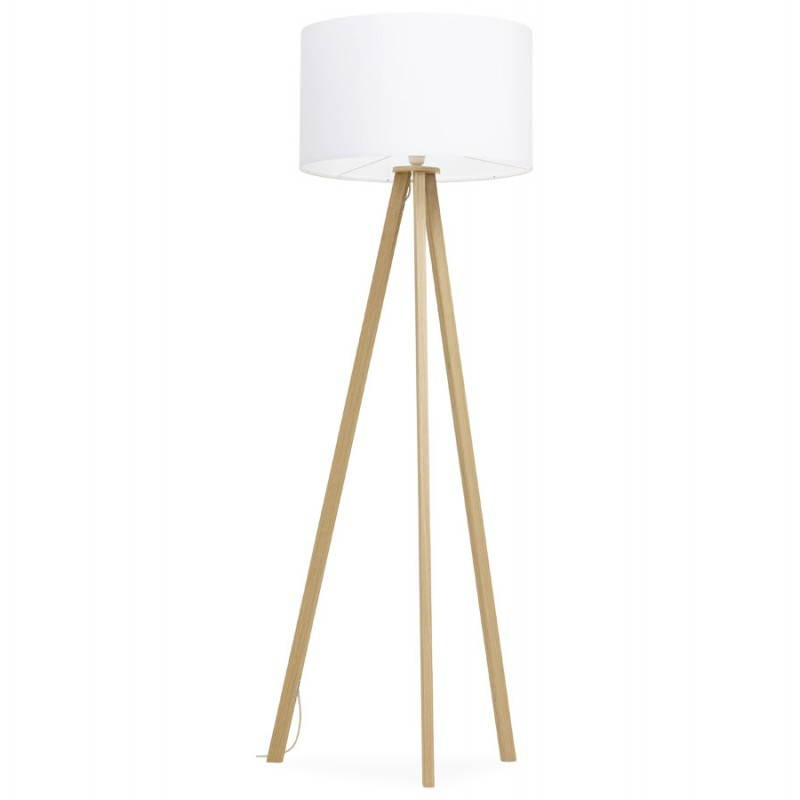 Scandinavian style TRANI (white, natural) fabric floor lamp - image 23170