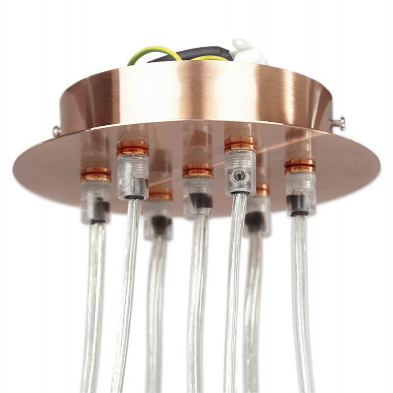 Lampe suspendue rétro 7 boules GELA en métal (cuivre) - image 23217