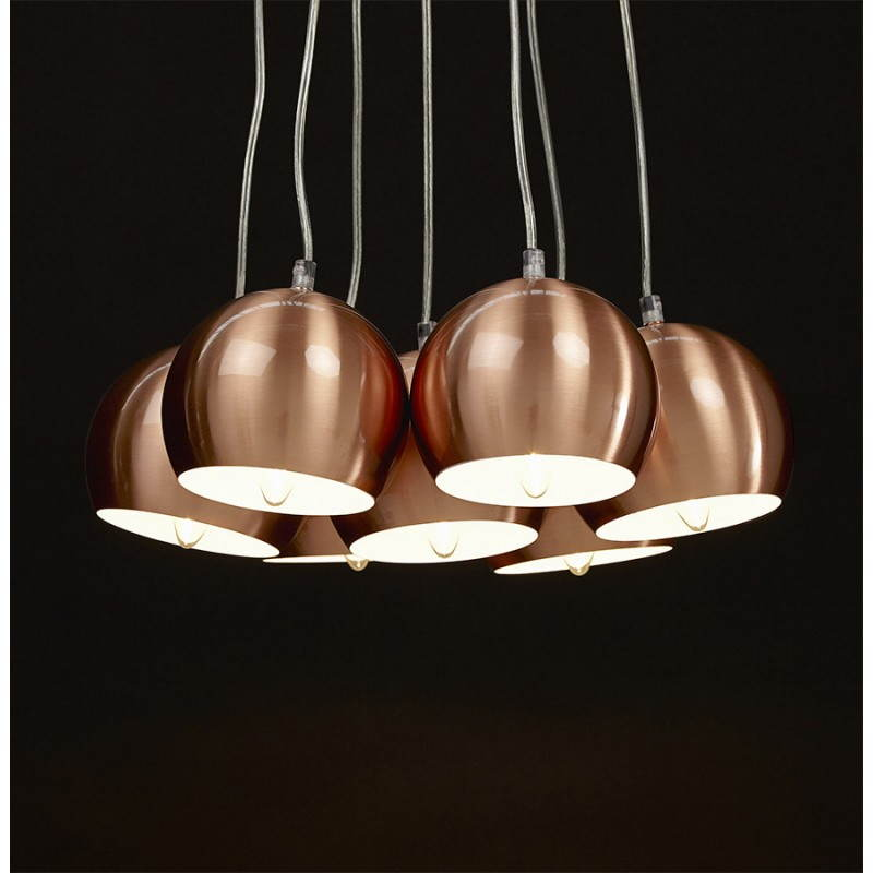Lampe suspendue rétro 7 boules GELA en métal (cuivre) - image 23219