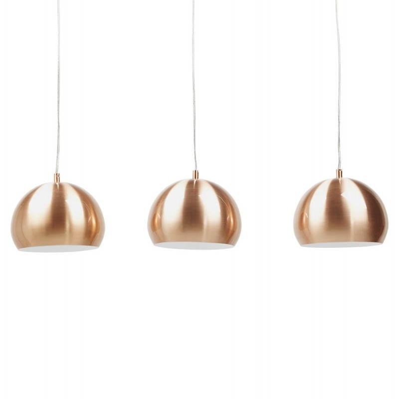 Lampe suspendue rétro 3 boules POUILLES en métal (cuivre)