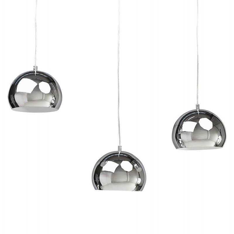 Lampe suspendue rétro 3 boules POUILLES en métal (chromé) - image 23251