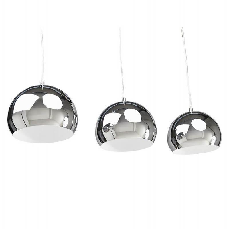 Lampe suspendue rétro 3 boules POUILLES en métal (chromé) - image 23252