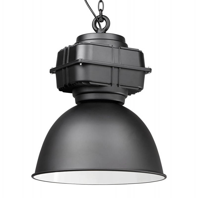 Lampe suspendue industrielle SAVONE en métal (noir mat)