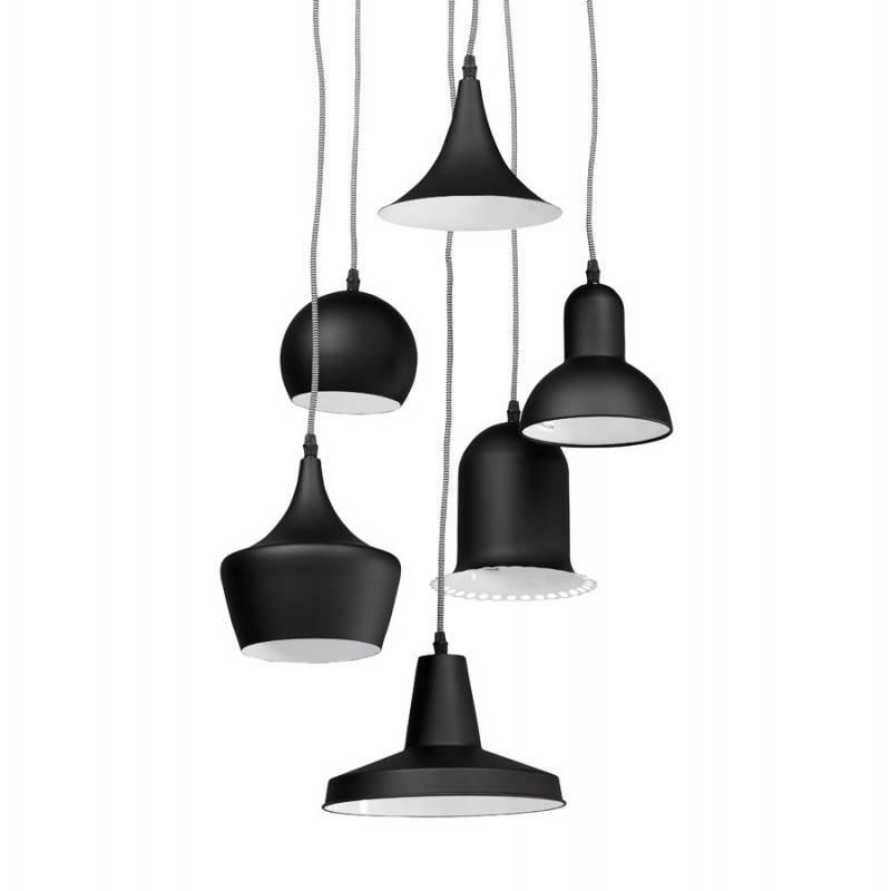 Lampe suspendue industrielle 6 globes MATERA en métal (noir mat) - image 23293