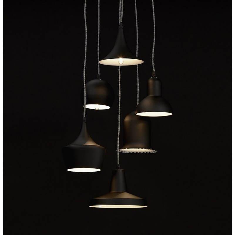Lampe suspendue industrielle 6 globes MATERA en métal (noir mat) - image 23306