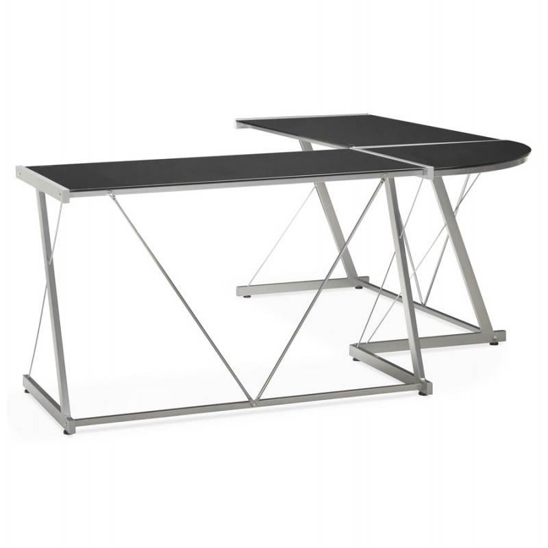 Bureau d'angle design ROVIGO en verre trempé et métal (noir) - image 23571