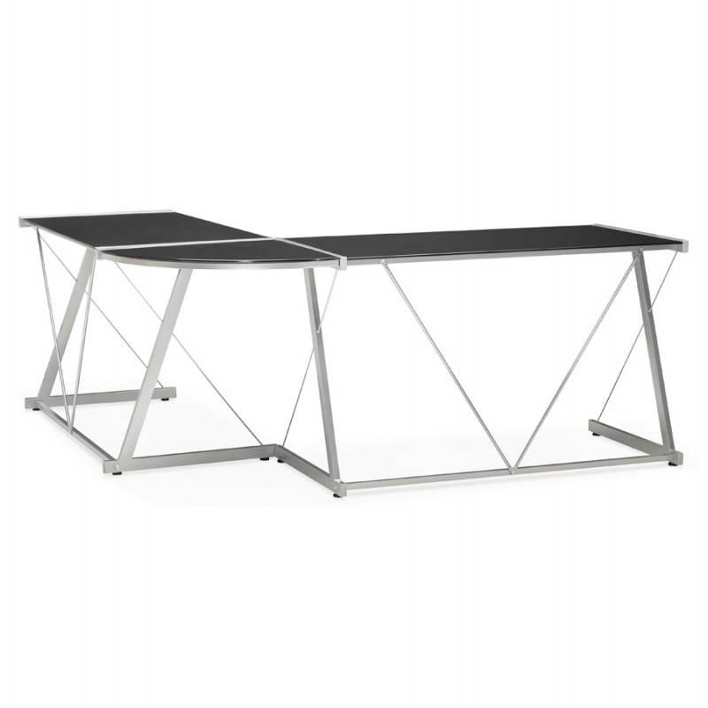 bureau d 39 angle design rovigo en verre tremp et m tal noir. Black Bedroom Furniture Sets. Home Design Ideas