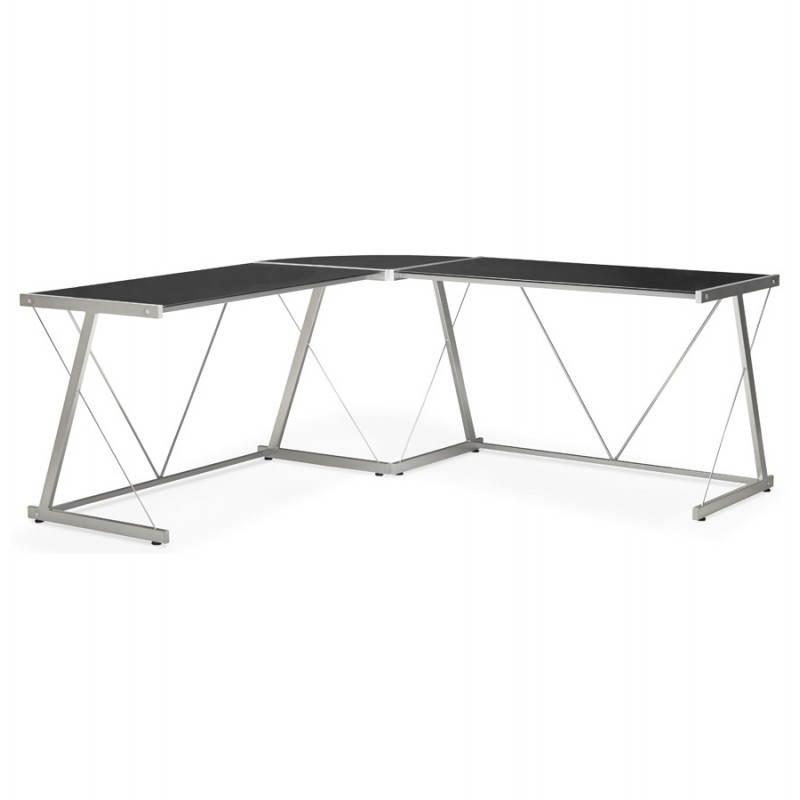 Bureau d'angle design ROVIGO en verre trempé et métal (noir) - image 23576