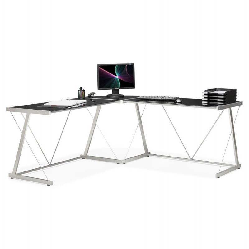 Bureau d'angle design ROVIGO en verre trempé et métal (noir) - image 23588