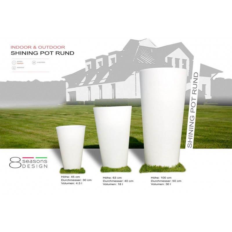 Pot ou vase lumineux intérieur extérieur BALSANE (blanc, H 63 cm) - image 24005