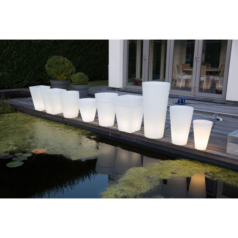 Pot ou vase lumineux intérieur extérieur BALSANE (blanc, H 68 cm) - image 24019