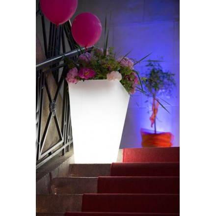Pot ou vase lumineux rectangulaire intérieur extérieur KIWI (blanc, H 63 cm)
