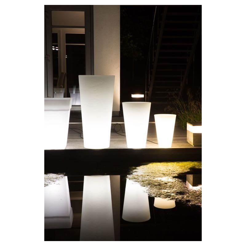 Pot ou vase lumineux rectangulaire intérieur extérieur KIWI (blanc, H 68 cm) - image 24058