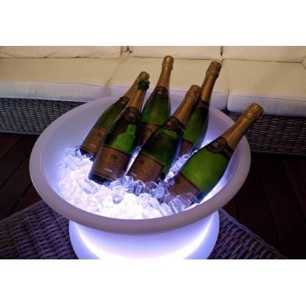 Seau à champagne GLACE intérieur extérieur (blanc, LED multicolore, batterie)