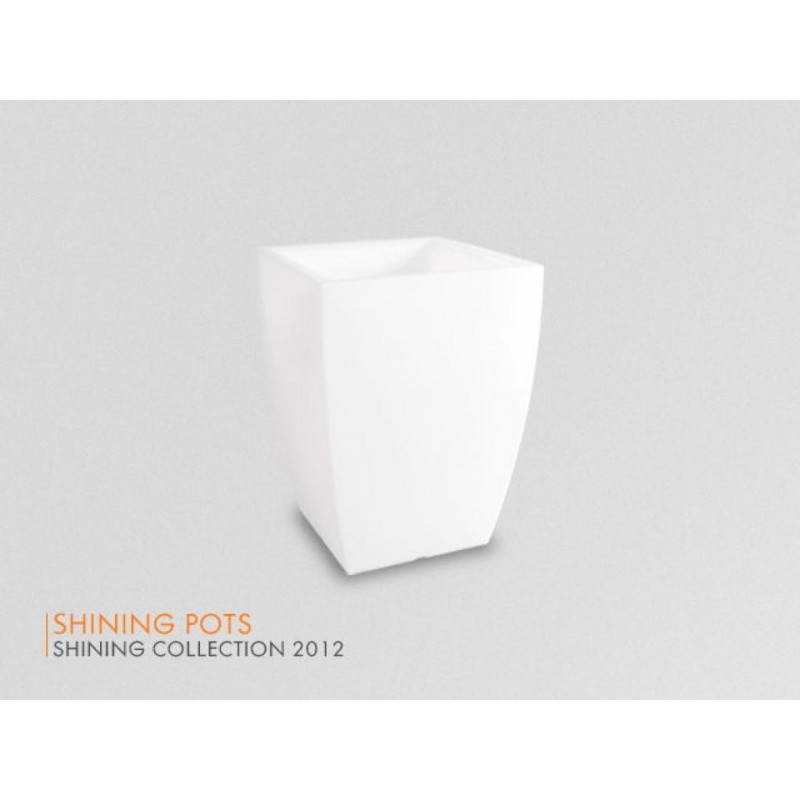 Pot ou vase lumineux rectangulaire KIWI intérieur extérieur (blanc, H 60 cm) - image 24524