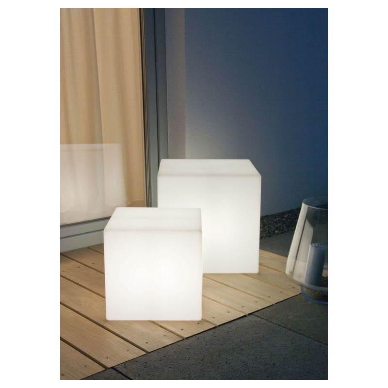 Table basse lumineuse CUBE intérieur extérieur (blanc, LED multicolore, H 33 cm) - image 24776