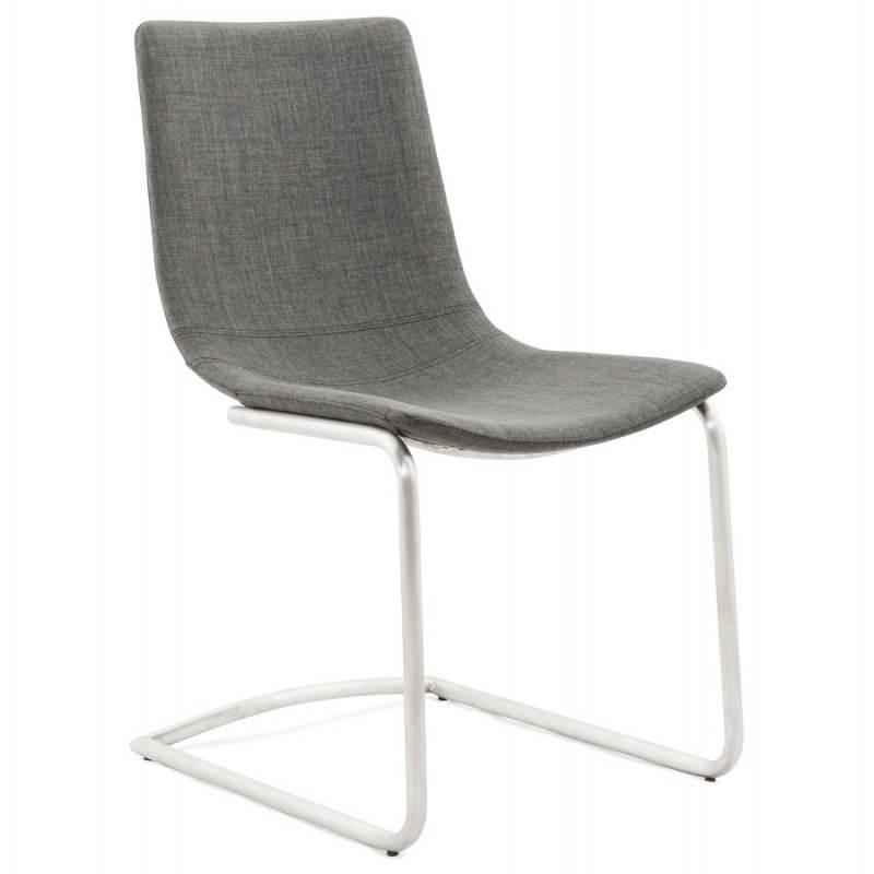 Chaise design et moderne RIMINI en textile (gris)