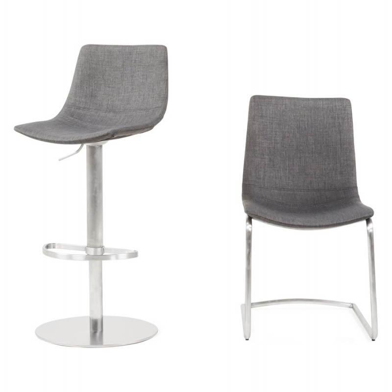 Chaise design et moderne RIMINI en textile (gris) - image 24987