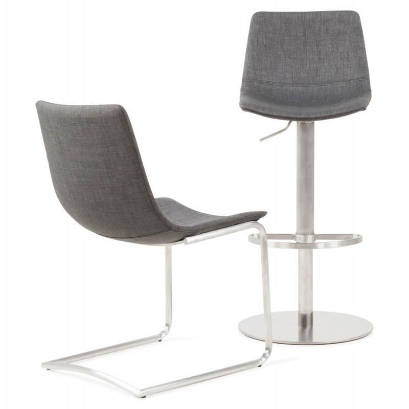 Chaise design et moderne RIMINI en textile (gris) - image 24989